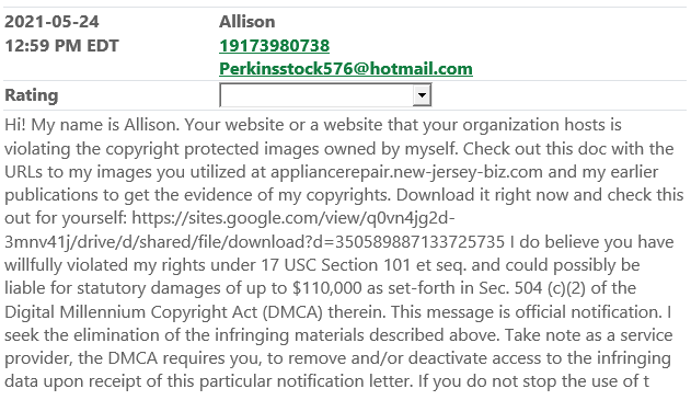 """""""Hi! My name is Allison. Your website or a website that your organization hosts is violating the copyright protected images owned by myself. Check out this doc with the URLs to my images you utilized..."""""""